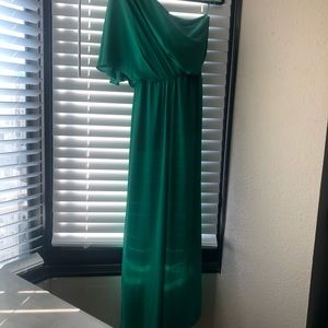 Kelly green BCBG maxazria off the should jumpsuit
